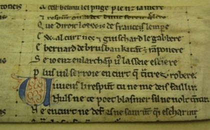 A section of text from La Chanson de Guillaume. It measures 157.5mm x 55mm and contains ten lines of two columns, recto and verso, with some parts of an eleventh line readable; it was cut from the middle of a folio. (Ref: MS 37223)Image by Dr Marianne Ailes, courtesy of the University of St Andrews Library