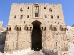 The gatehouse of the citadel of Aleppo.