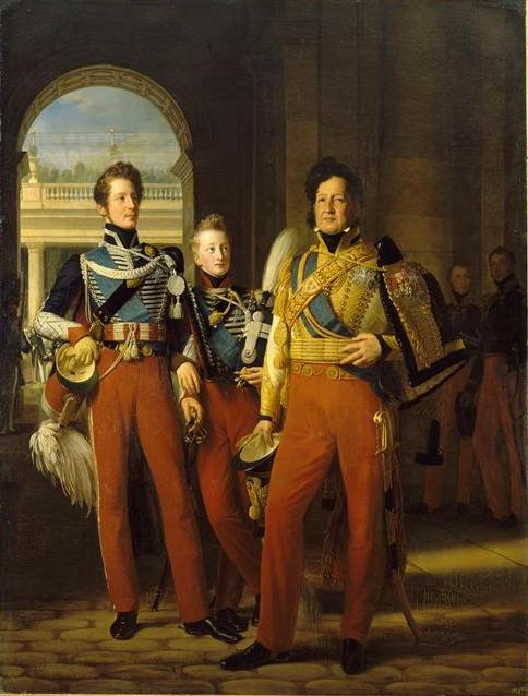 Portrait of Louis-Philippe of Orleans with his two eldest sons, the Duke of Chartres (future Duke of Orleans) and the Duke of Nemours by Louis Hersent (1830).