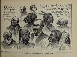 A cartoon which appeared in the American atheist periodical, 'The Truth Seeker', in the late nineteenth century.