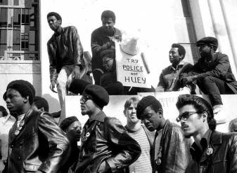 Diverse members of the Black Panthers at the opening of the Huey Newton trial, Oakland, 1969.