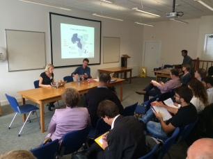 Dr Joanna Warson (Portsmouth) presenting her topic on France in Anglophone Africa, chaired by Dr Simon Jackson (Birmingham).