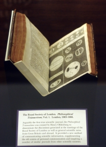 The Royal Society of London, Philosophical Transactions, Vol. 1. London, 1665-1666, photo attr. Eve of Discovery,  CC BY-NC-SA 2.0